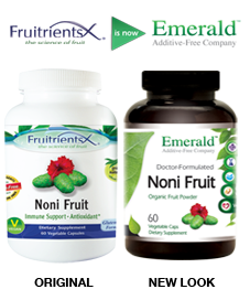 Emerald Noni Fruit Side-by-Side