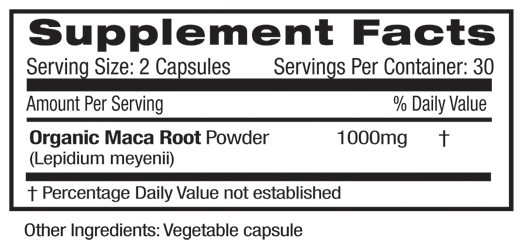 Maca Root Supplement Facts