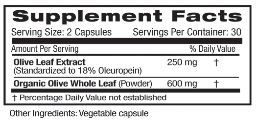 Oive Leaf Supplement Facts