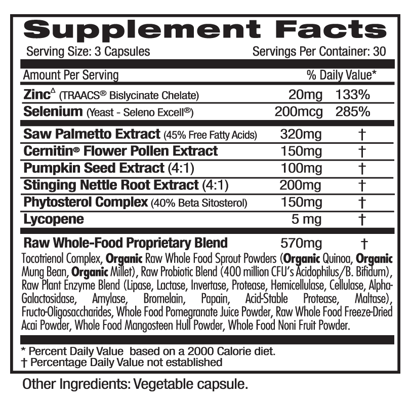 Emerald Labs Prostate Health Supp Facts