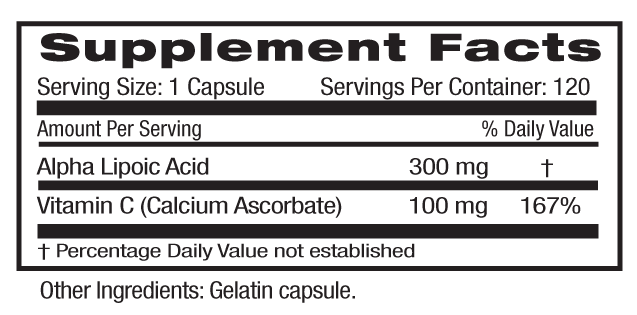 Alpha Lipoic Acid Supp Facts